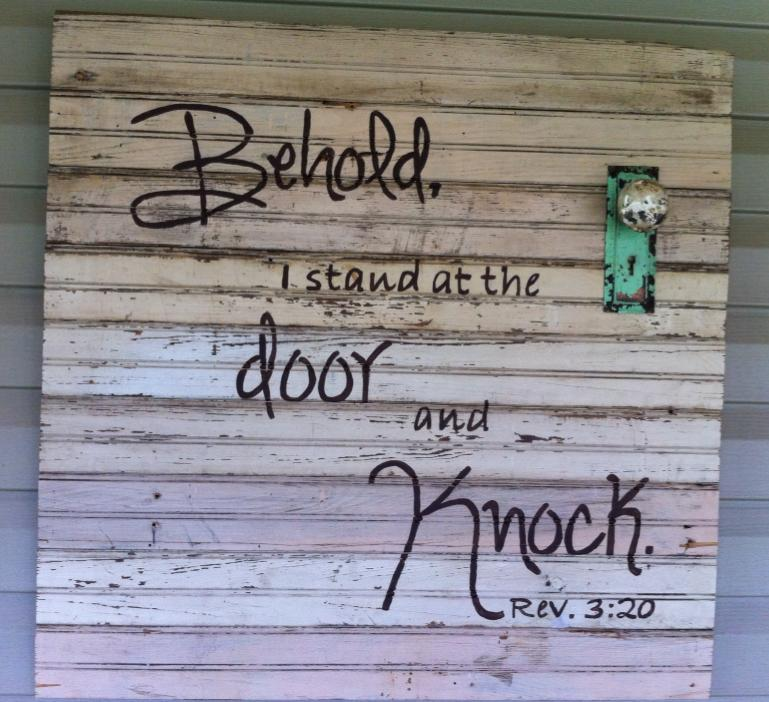 Customer Ginger Robbins made this wall sign with old boards and some door hardware from Old House! We love it!