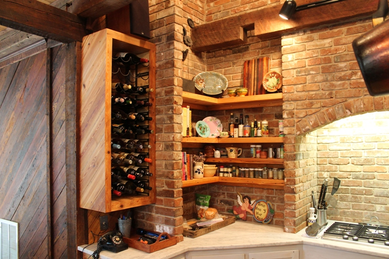 Custom wine rack, ancient cypress, Custom shelves made with ancient cypress, White marble counters, Antique brick
