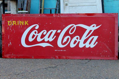 Just in! Coca-Cola sign circa 1949. Dimensions: 23