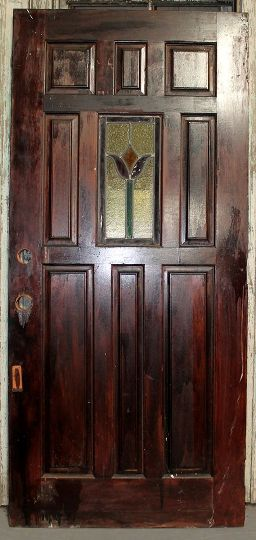 This Pine door with stained glass would be a beautiful front door for any home. Dimensions: 36