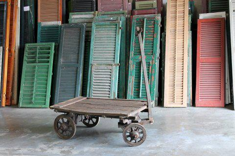 Old world wooden cart. Dimensions: 43