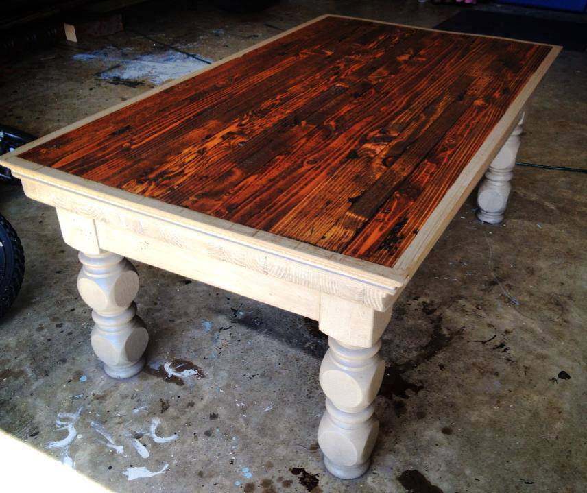 "From Customer Ellison Belt: ""Coffee table with legs made from posts purchased at Old House Depot."""
