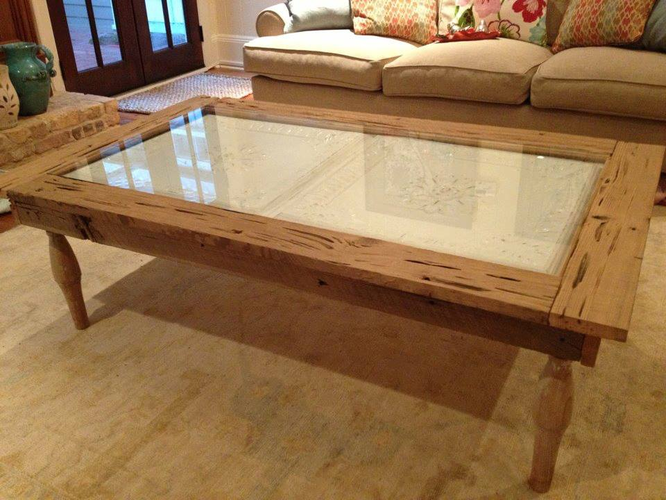 Customer Kyle Lewis made this coffee table from pecky cypress, salvaged cypress spindles, and antique tin ceiling tiles from Old House. Didn't this table turn out beautifully?