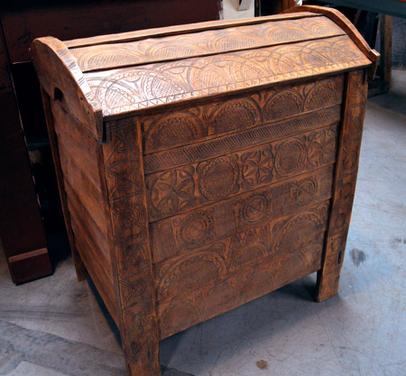 Cir. 1850, hand-carved blanket chest from Romania
