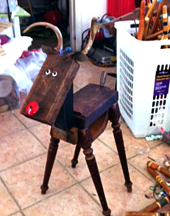 Rudolph made from foundry patterns, antlers and table legs in Anne's studio.