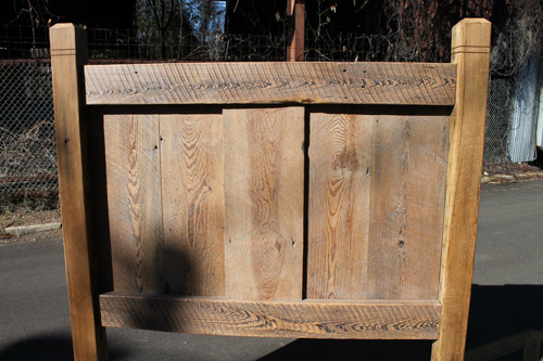 Reclaimed lumber headboard detail.<br /><br /><br><br /><br>