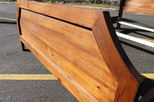Heart pine footboard detail.<br /><br /><br><br /><br /><br><br><br /><br><br /><br /><br>