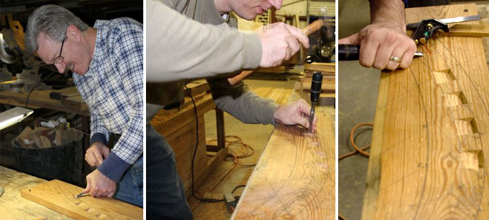 Our boat builders chisel out the stem rabbet.