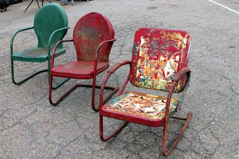 Vintage metal lawn chairs that come in a variety of style and colors. Price: $40 each.