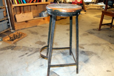 This just in! Vintage metal stool with wooden seat and cool foot rest. Dimensions: seat 12