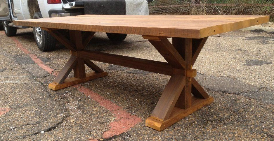 Cypress harvest table with through tenon and mortise joints.